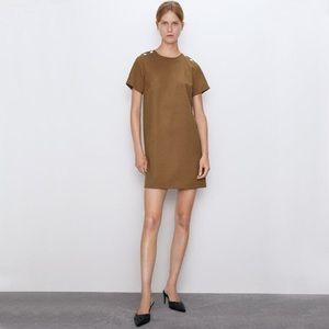 Zara Camel Shift Dress with Pockets Size S